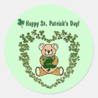 St. Patrick's Day Bear Sticker Round Sticker