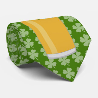 St. Patrick's Day Beer and Clover Tie