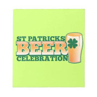 ST Patricks Day BEER Celebration Notepads