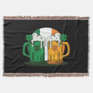 St. Patrick's Day. Beer Stein. Ireland Flag. Throw Blanket