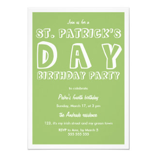 St Patricks Day Birthday Party 40th Retro Green 13 Cm X 18 Cm Invitation Card
