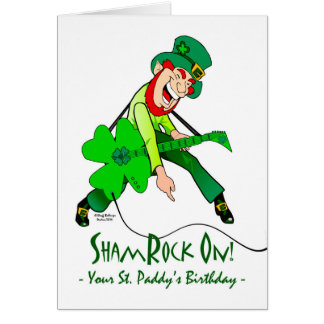 St. Patrick's Day Birthday, Rock Star, ShamRock On Card