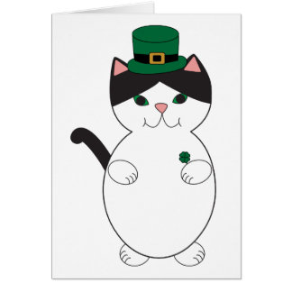 St Patricks Day Black White Cat Green Personalise Card