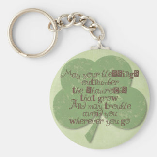 St. Patricks Day Blessing Basic Round Button Key Ring