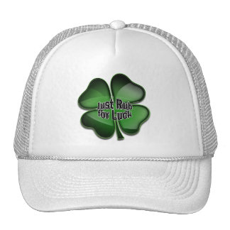 St. Patrick's Day Bling, rub for luck Mesh Hats