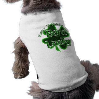 St. Patrick's Day Born Lucky Sleeveless Dog Shirt