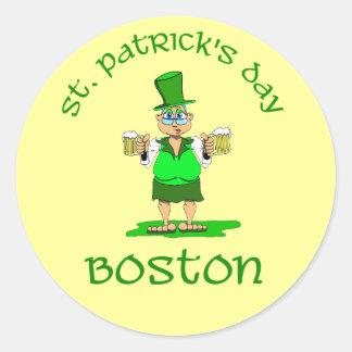 st patricks day boston gladys classic round sticker