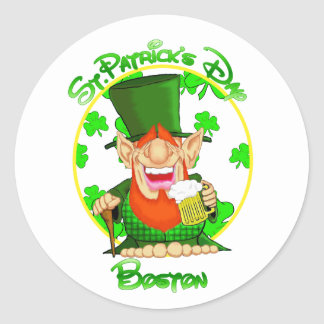 St Patrick's Day Boston Round Sticker