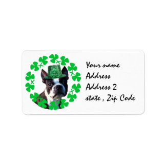 St Patricks day Boston Terrier dog Address Label