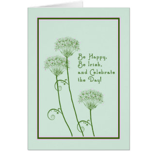 St. Patrick's Day Card in Green with Flowers