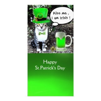 ST PATRICK'S DAY CAT AND GREEN IRISH BEER CUSTOMIZED PHOTO CARD