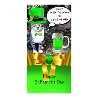 ST PATRICK'S DAY CAT,GREEN IRISH BEER ,GOLD BOW PHOTO CARDS