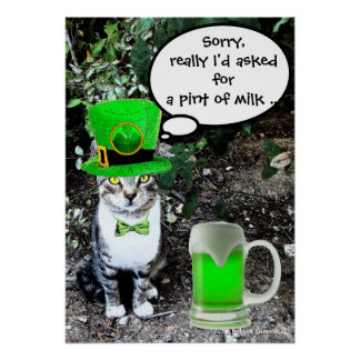 ST PATRICK'S  DAY CAT  WITH GREEN IRISH BEER POSTER