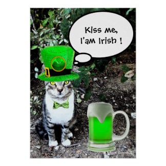 ST PATRICK'S  DAY CAT  WITH GREEN IRISH BEER PRINT