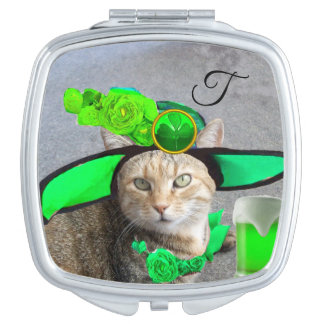 ST PATRICK'S  DAY CAT  WITH GREEN IRISH BEER VANITY MIRROR