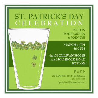 St Patricks Day Celebration Party Pint Invitation