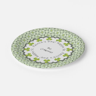 St. Patrick's Day Celtic Shamrock Personalized Paper Plate