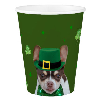 St. Patricks Day chihuahua dog paper cup