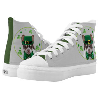 St. Patrick's Day Chihuahua high top tennis shoes