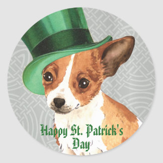 St. Patrick's Day Chihuahua Round Sticker
