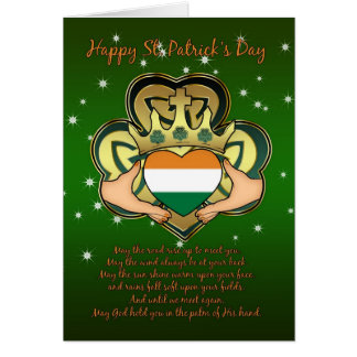 St.Patrick's Day Claddagh, Shamrock, Blessing Card