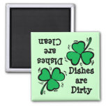 St. Patrick's Day  Clover Clean Dirty Diswasher Square Magnet