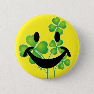 St. Patrick's Day Clover & Smiley + your ideas 6 Cm Round Badge