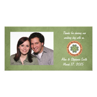 St Patrick's Day Clover Stamp Thank You Personalised Photo Card