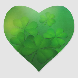 St Patrick's Day - Clovers/Shamrocks Heart Sticker