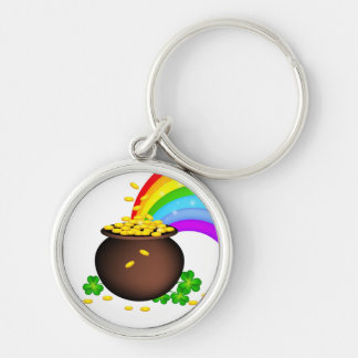 St patricks day coin pot with rainbow Silver-Colored round key ring