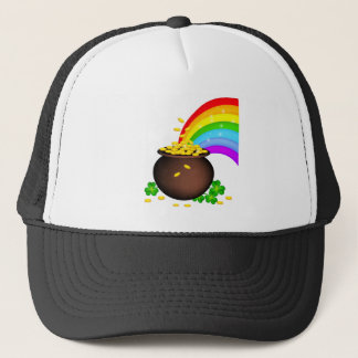St patricks day coin pot with rainbow trucker hat