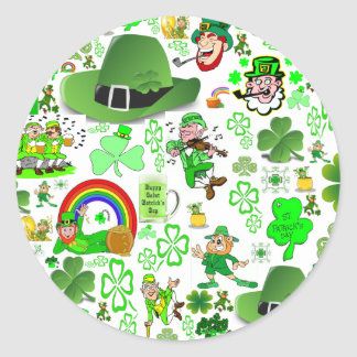 St Patrick's Day Collage Classic Round Sticker