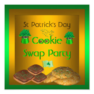 St Patrick's Day Cookie Swap Lime Yellow Party 13 Cm X 13 Cm Square Invitation Card