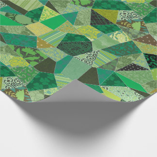 St. Patrick's Day Crazy Shamrocks Quilt Wrapping Paper