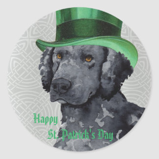 St. Patrick's Day Curly-Coated Retriever Classic Round Sticker