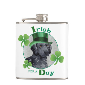 St. Patrick's Day Curly-Coated Retriever Hip Flask