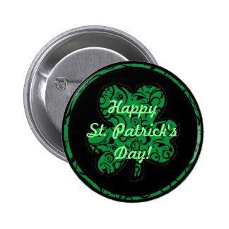 St. Patrick's Day damask green shamrock button