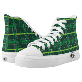 St. Patrick's Day Dark Green Plaid Printed Shoes