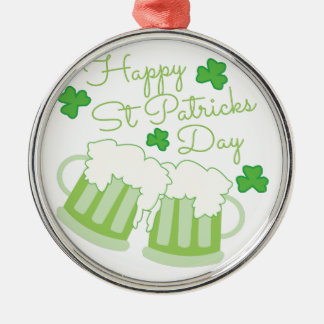 St Patricks Day Silver-Colored Round Decoration