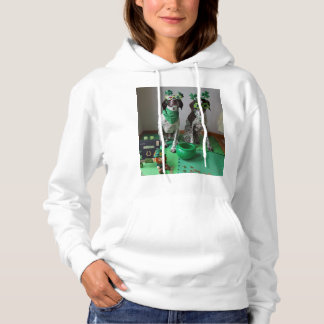 St. Patrick's Day Dogs Party Ladies Hooded Shirt