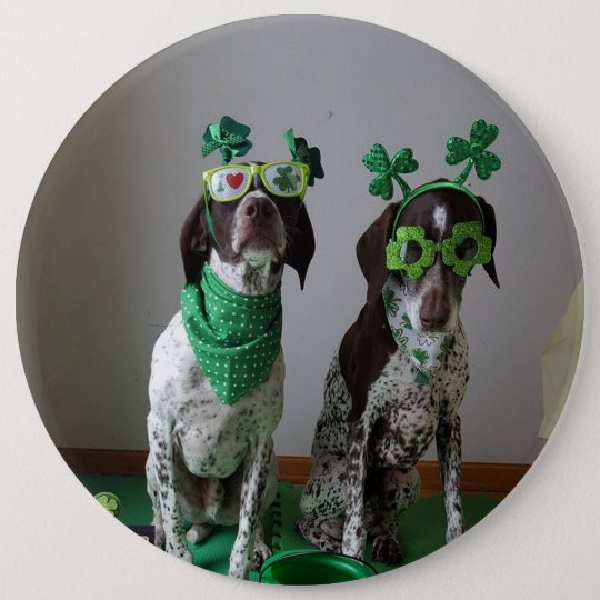 St. Patrick's Day Dogs Party Large Round Button