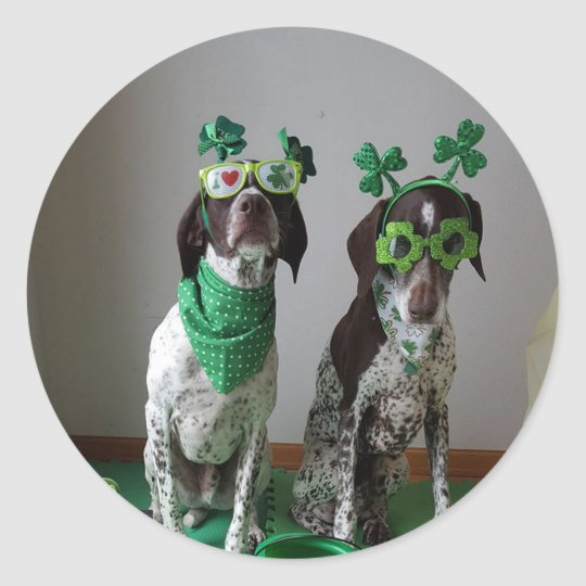 St. Patrick's Day Dogs Party Round Sticker