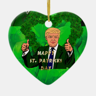 st patricks day donald trump ceramic heart decoration