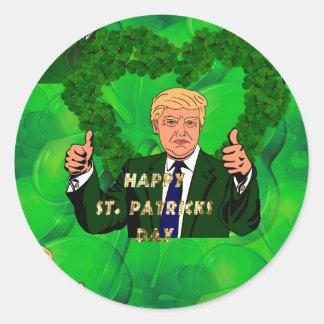 st patricks day donald trump round sticker