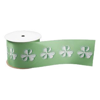 St. Patrick's Day Drawn Clover/Shamrock Satin Ribbon