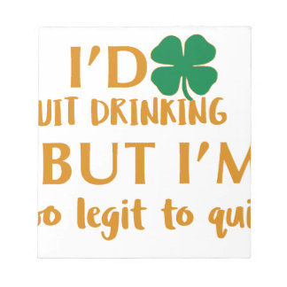 St Patrick's day drinking design Notepad