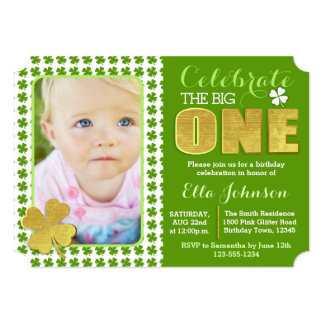 St. Patrick's Day First Birthday Party Photo Card