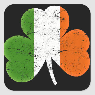 St Patrick's Day Flag Shamrock Square Sticker