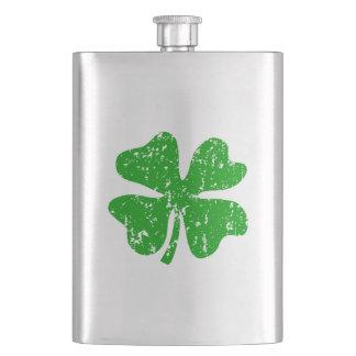 St Patricks Day flask | Green shamrock clover