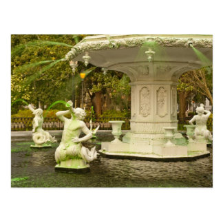 St Patrick's Day - Forsyth Fountain, Savannah, GA Postcard
